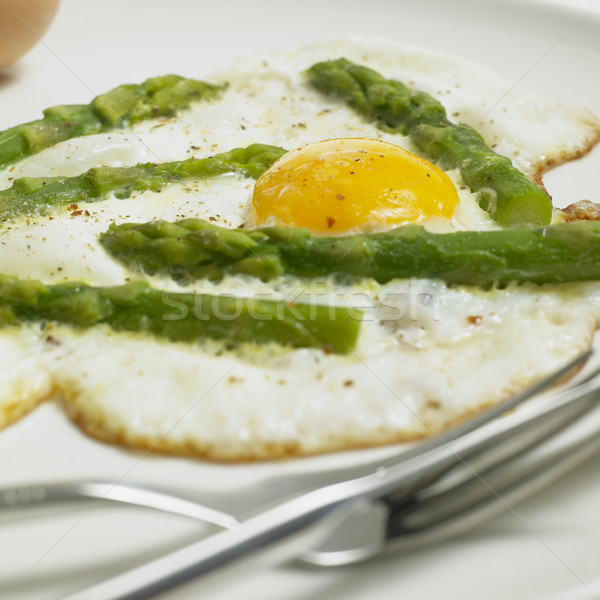 egg omelet with green aspargus Stock photo © phbcz