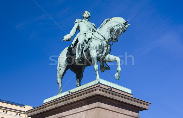 statue in front of Slottet (Royal Palace), Oslo, Norway Stock photo © phbcz