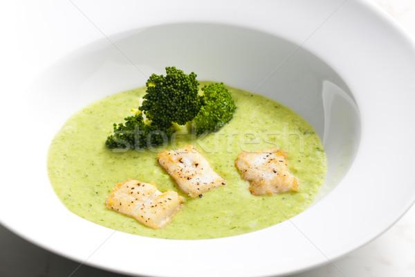 Brokkoli leves makréla tányér zöldség étel Stock fotó © phbcz