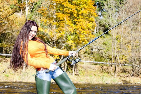 Foto stock: Mulher · pescaria · rio · República · Checa · mulheres · outono
