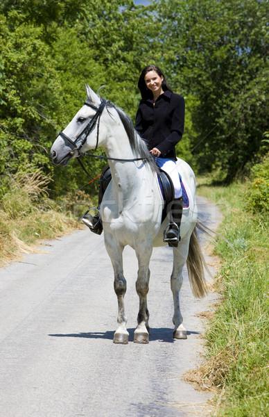 Paardenrug vrouw weg dieren jonge Stockfoto © phbcz