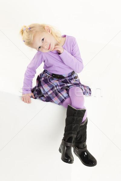 Oturma küçük kız etek kız çocuk Stok fotoğraf © phbcz