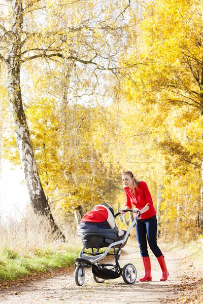 Donna carrozzina piedi vicolo famiglia Foto d'archivio © phbcz