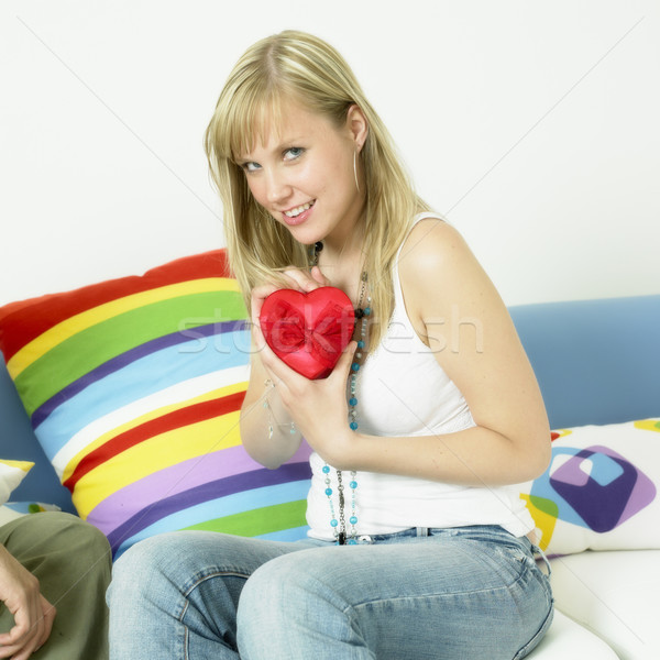 Nő szív szeretet fiatal egyedül fiatalság Stock fotó © phbcz