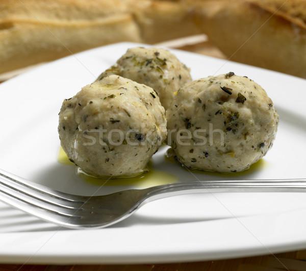 Voedsel plaat vork gerechten binnenshuis Stockfoto © phbcz