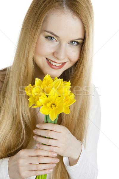 肖像 若い女性 水仙 女性 花 花 ストックフォト © phbcz