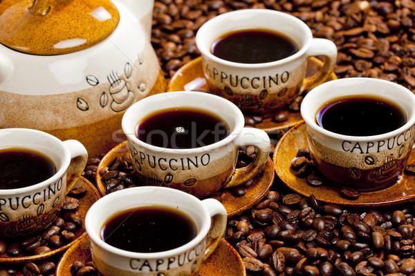 Martwa natura kubki do kawy Kafejka kubek obiektu brązowy Zdjęcia stock © phbcz