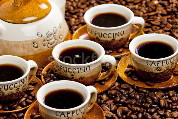 Still life tasses de café café tasse objet brun Photo stock © phbcz