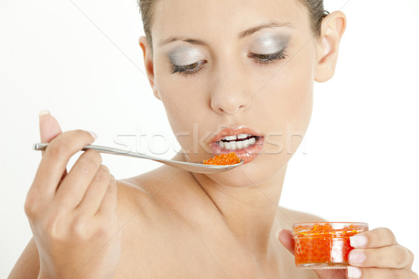 portrait of woman with red caviar Stock photo © phbcz
