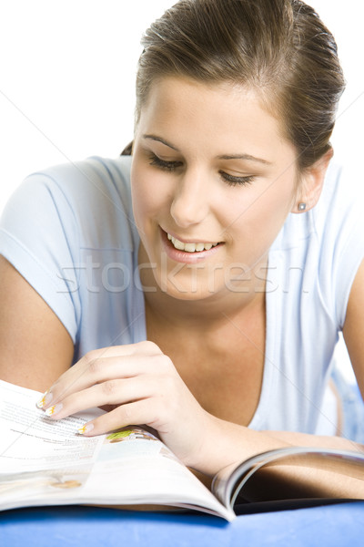 portrait of lying down woman with a journal Stock photo © phbcz