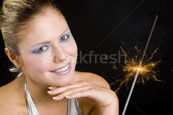 portrait of woman with fire-cracker Stock photo © phbcz