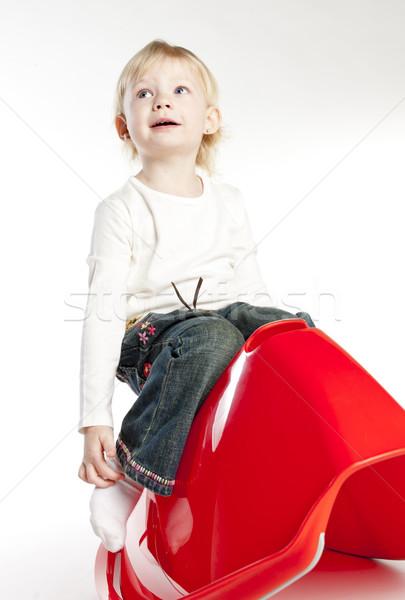 девочку сидят Swing девушки ребенка расслабиться Сток-фото © phbcz
