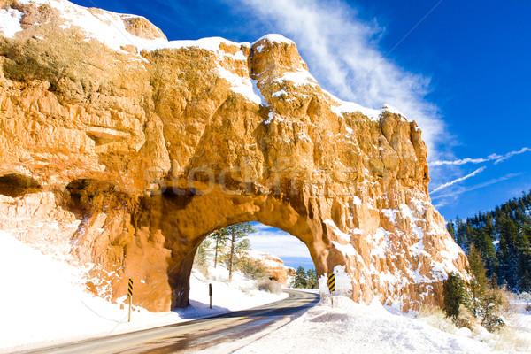 Tunnel canyon parc hiver Utah USA Photo stock © phbcz