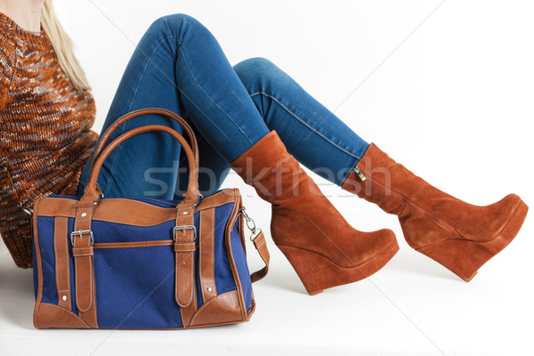 detail of sitting woman wearing fashionable platform brown shoes Stock photo © phbcz