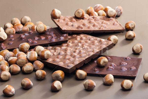 Stock fotó: Csokoládé · rácsok · mogyoró · édes · bent · sok