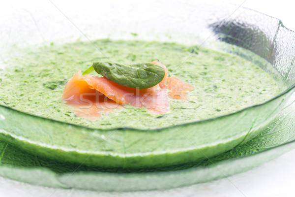 Espinafre sopa prato refeição salmão Foto stock © phbcz
