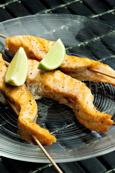 Saumon plaque citron repas plat saine Photo stock © phbcz
