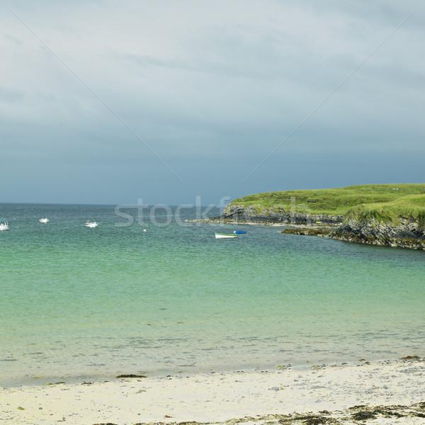 Foto stock: Pescador · punto · Irlanda · playa · hombre · solo