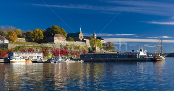 крепость Осло Норвегия здании морем судно Сток-фото © phbcz