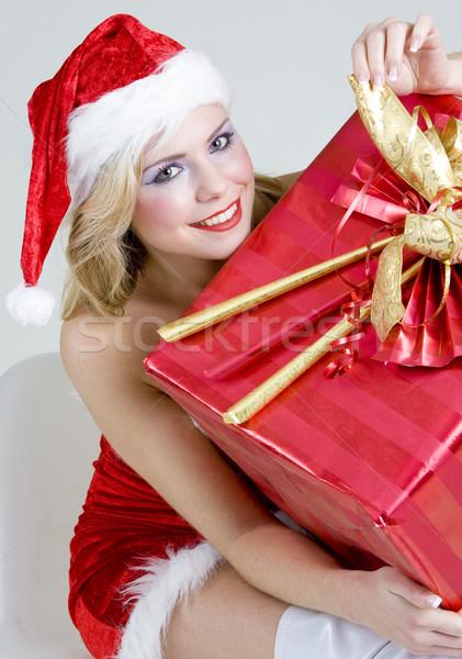 Stok fotoğraf: Noel · baba · Noel · sunmak · kadın · kırmızı · genç