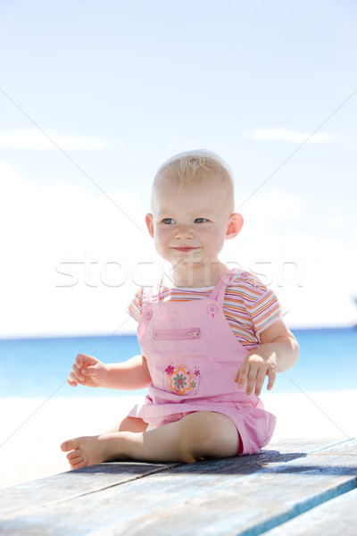 toddler on the beach, Barbados, Caribbean Stock photo © phbcz