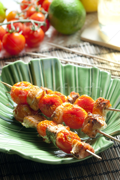 лосося помидоры черри продовольствие томатный растительное блюд Сток-фото © phbcz