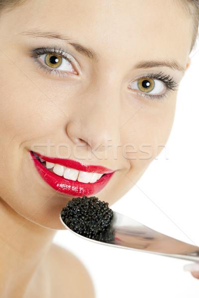 Portre kadın siyah havyar genç yeme Stok fotoğraf © phbcz