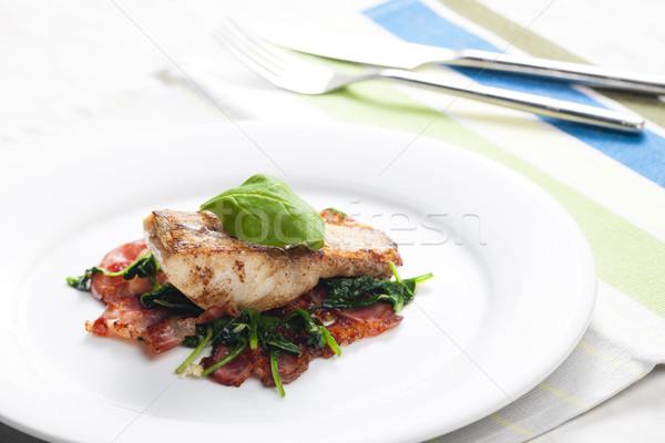 フィレット ほうれん草 ベーコン サラダ 魚 ストックフォト © phbcz