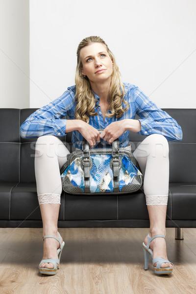 Stockfoto: Vrouw · zomerschoenen · handtas · vergadering · sofa
