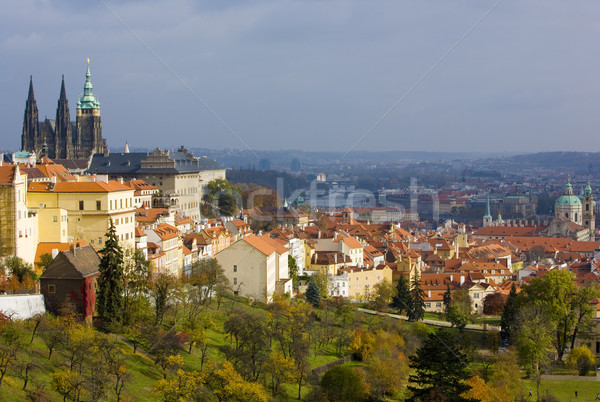 view of city from Petrinske orchards, Prague, Czech Republic Stock photo © phbcz