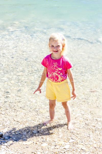 little girl on the bank of Verdon river, Provence, France Stock photo © phbcz