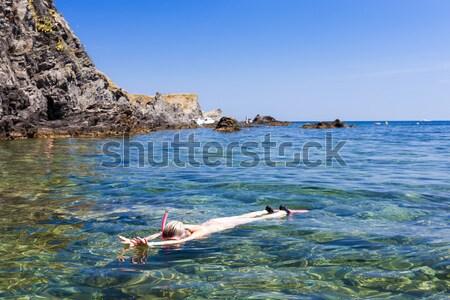 Dziewczynka snorkeling morze Śródziemne morza Francja dziewczyna Zdjęcia stock © phbcz