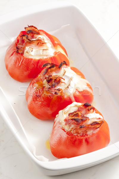 Gebakken tomaten geitenkaas kaas plaat groenten Stockfoto © phbcz