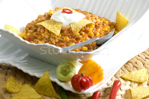 Zöldségek leves hús étel kanál zöldség Stock fotó © phbcz