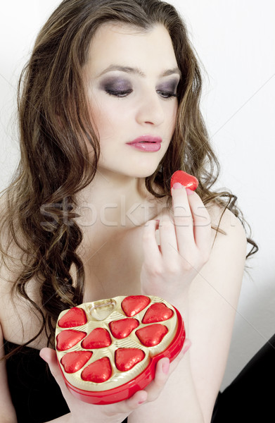 portrait of young woman with Valentine Stock photo © phbcz