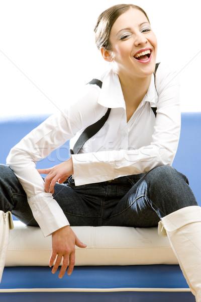Posiedzenia kobieta interesu działalności kobieta młodych sofa Zdjęcia stock © phbcz