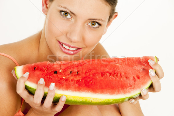 Ritratto donna acqua melone frutta frutti Foto d'archivio © phbcz