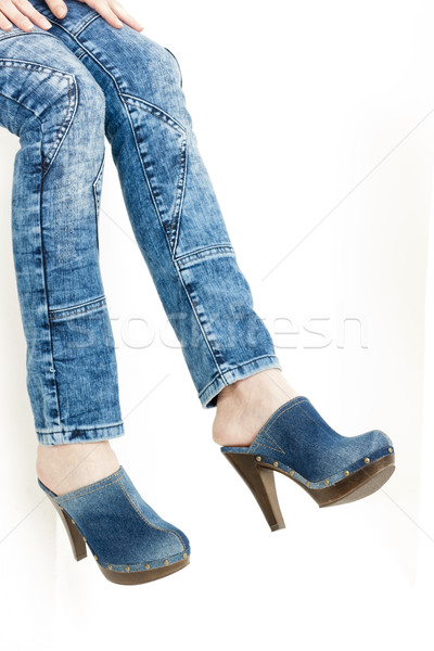 detail of woman wearing denim clogs Stock photo © phbcz
