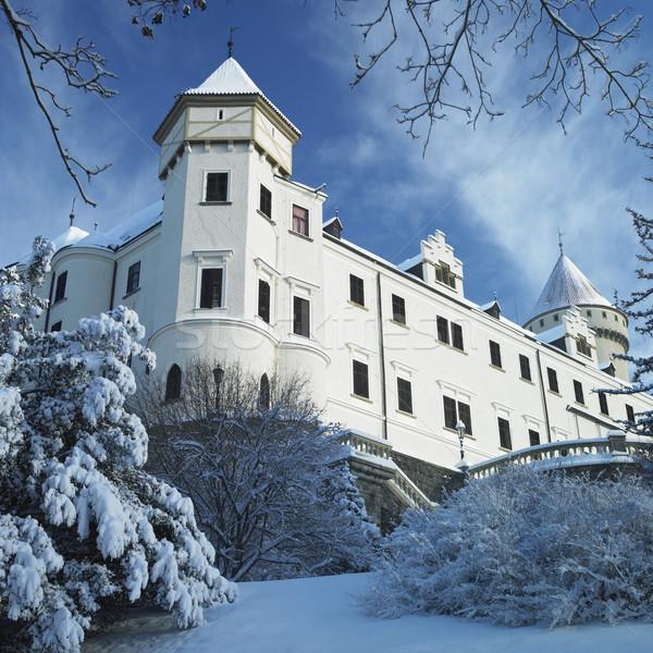 Foto stock: Inverno · República · Checa · edifício · neve · castelo · arquitetura