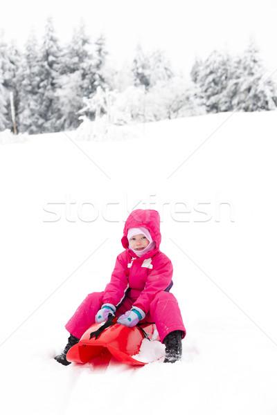 ストックフォト: 女の子 · 少女 · 子 · 雪 · 子供 · 人