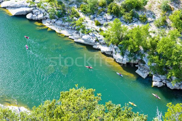 kayaks in Ardeche Gorge, Rhone-Alpes, France Stock photo © phbcz