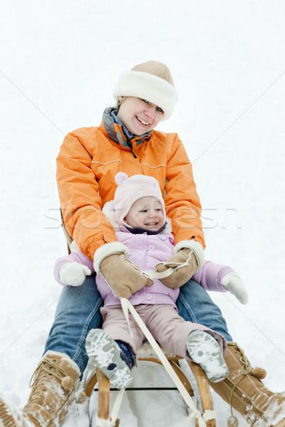 little girl sledding with mother Stock photo © phbcz
