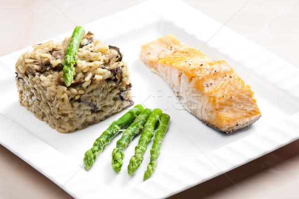 Сток-фото: лосося · гриб · рисотто · зеленый · спаржа