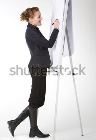 businesswoman at whiteboard Stock photo © phbcz