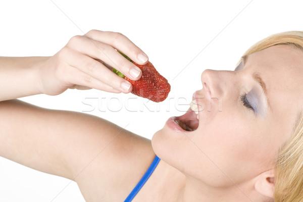 woman with strawberry Stock photo © phbcz