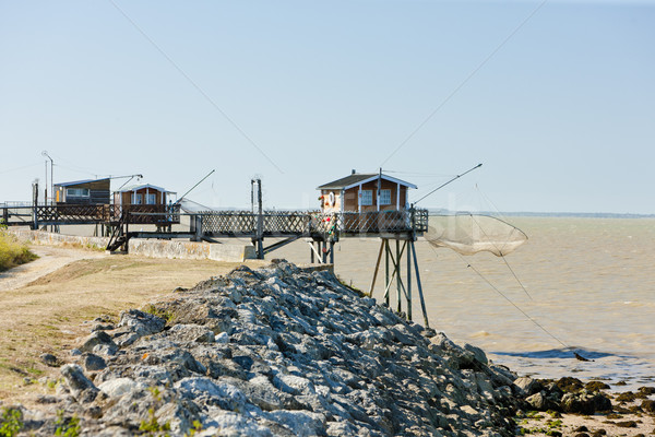 Stock photo: piers with fishing nets, Gironde Department, Aquitaine, France