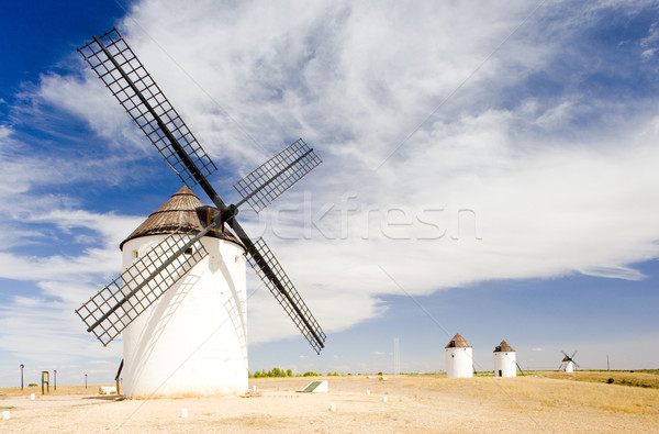 windmills, Mota del Cuervo, Castile-La Mancha, Spain Stock photo © phbcz