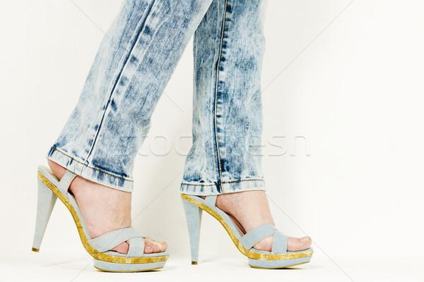 подробность женщину джинсовой Летняя обувь женщины Сток-фото © phbcz