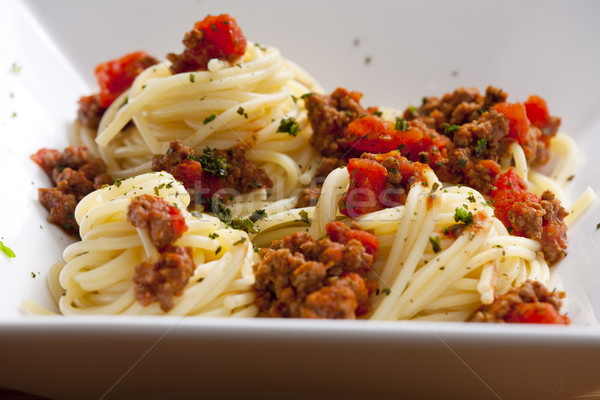 spaghetti with minced meat Stock photo © phbcz