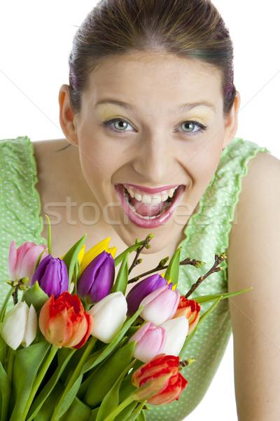 Portré fiatal nő tulipánok nő virág virágok Stock fotó © phbcz